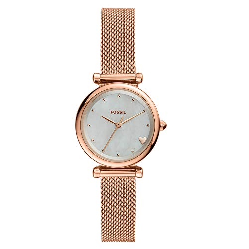 Fossil Women's Mini Carlie Stainless Steel Quartz Watch with Mesh Strap, Rose, 11.6 (Model: ()