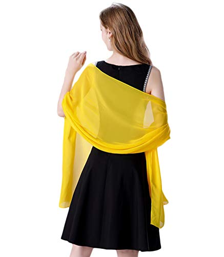 Soft Chiffon Scarve Shawls Wraps for Dresses Women Accessories Gold
