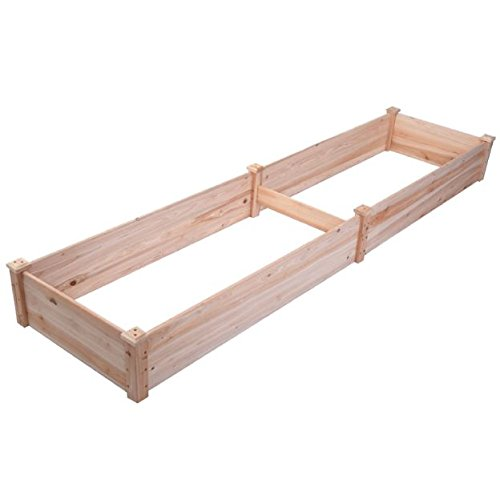 New 8' x 2' Wood Garden Raised Bed Vegetables Planter Kit Elevated Box Flower Gardening Grow Plant Herb Cedar Outdoor Patio Backyard Pots Wooden by Generic