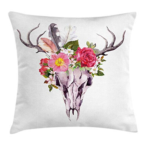 """Ambesonne Antler Throw Pillow Cushion Cover, Deer Animal Skull with Flowers and Feathers Vintage Retro Style Watercolor Artwork, Decorative Square Accent Pillow Case, 20"""" X 20"""", Pale Lavender"""