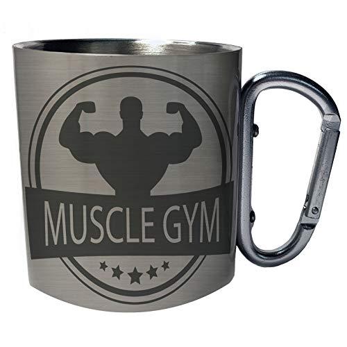 - Muscle gym logo strong men Novelty Stainless Steel Carabiner Travel Mug 11oz p80c