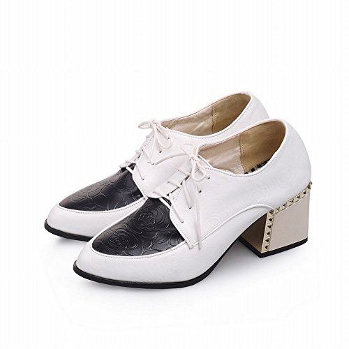Carol Zapatos Mujeres Assorted Colors Lace-up Rose Patrón Casual Chunky Mid Heel Oxfords Zapatos Blanco