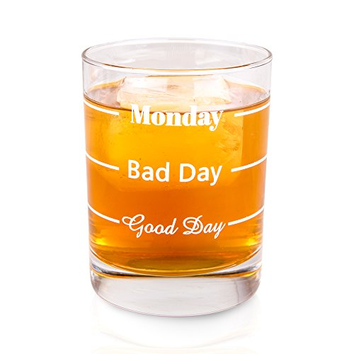 Old Fashioned Whiskey Glass | Good Day Bad Day Monday | Premium Bar Glassware