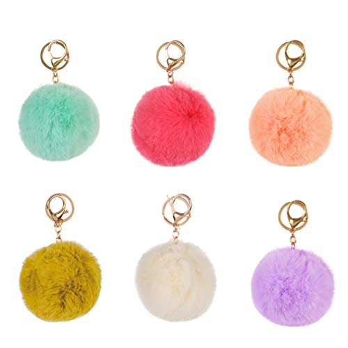 RufNTop 6 PCS or 12 PCS PomPom KeyChain Faux Bag Purse Charm Gold Ring Fluffy Fur Ball Car Key Ring or Handbag Accessories(6 PCS PASTEL MIX One Size)