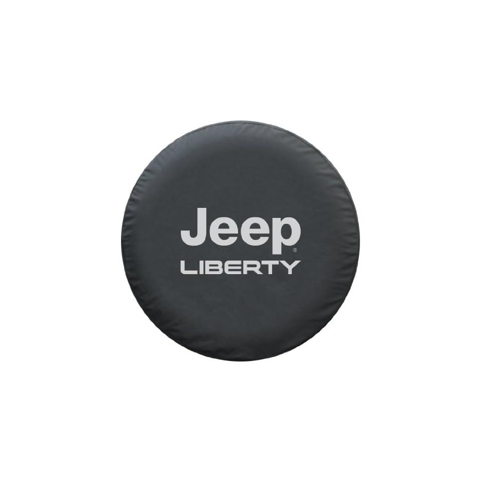 Jeep Liberty Spare Tire Cover   Premium Black Denim Vinyl Automotive