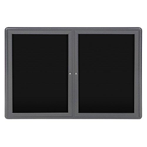 """Ghent 34"""" x 47"""" 2-Door Ovation Letter Board Black, Gray Frame (OVG2-BBK)"""