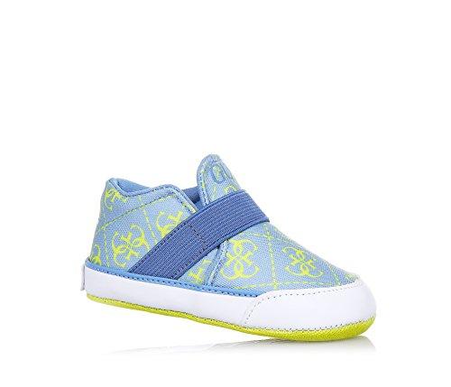 GUESS - Chaussure de berceau bleue et jaune en tissue synthétique, made in Italy, synonyme de confort et style, bébé garçon