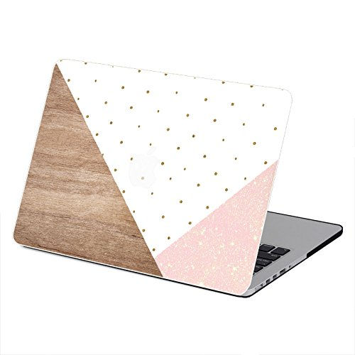 Bizcustom Macbook Pro 13 Plastic Case Polka Dot Pink Glitter Wood Triangel Geometry Painting Hard Rubberized Cover for Macbook Pro 13 with DVD-DRIVE A1278