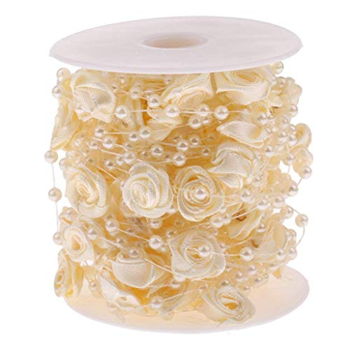 BABYHYY 10m Rose Acrylic Artificial Pearls Beads Garland Wedding Dressmaking Hair Decor Gift Craft - Champagne, as described