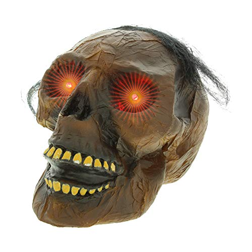 Halloween Haunters Life Size Burnt Rotten Flesh Mummy Skull Prop Decoration - Scary Zombie Skeleton Head with Red LED Eyes - Display Haunted House Graveyard -