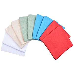 Sinland Microfiber Waffle Weave Kitchen Towels Dish Drying Towels 16 Inch X 24 Inch 10 Pack Assorted Colors