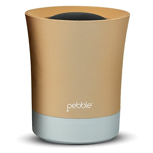 Pebble XS – Wireless Portable Bluetooth Speaker with Microphone/USB/SD Card Reader/AUX in (Grey) (Gold)