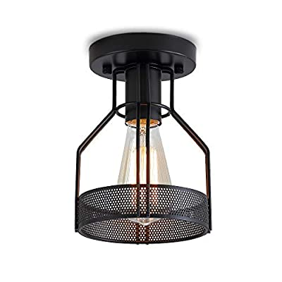 Create for Life Industrial Vintage Rustic Flush Mount Ceiling Light, Metal Cage Light Fixture for Hallway Stairway Kitchen Garage, E26, Black Painting Finish