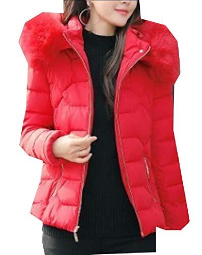 EKU Women's Faux Fur Hooded Warm Winter Outwear Parka Downs Puffer Coat Red