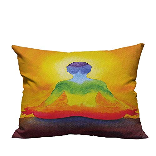 YouXianHome Decorative Throw Pillow Case Grungy Meditating Human Body Paint Print with Gradient Effects Care Healing Symbol Multi Ideal Decoration(Double-Sided Printing) 19.5x26 inch -