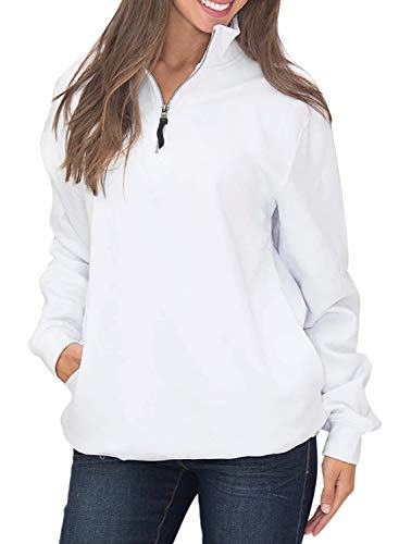 Diukia Women's Long Sleeves Collar Quarter 1/4 Zip Solid Hoodies Fleece Pullover Sweatshirts with Pockets(S-2XL) White
