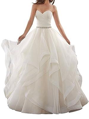APXPF Women's Organza Ruffles Ball Gown Wedding Dresses Bride Dress