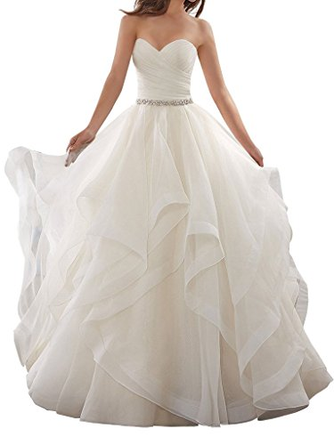 APXPF Women's Organza Ruffles Ball Gown Wedding Dresses Bride Dress White US2