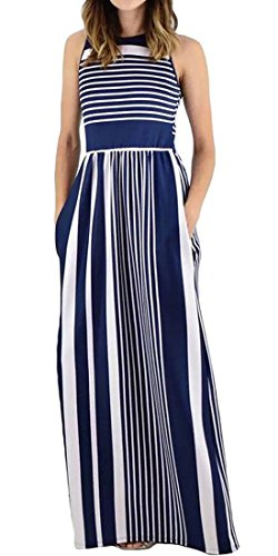 Camis Striped Womens Dress Long Swing Stylish Navy Comfort Blue Pockets Cromoncent CwU7w