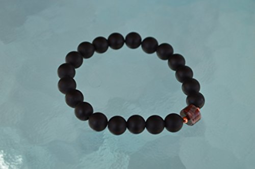 8 mm Garnet Matte Black Onyx Mala Bead Necklace Emotional Protection Calming Sexual Tensions Marital Disputes Devotion Strong Saturn - USA Seller