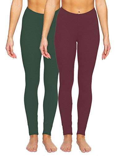 Felina | Velvet Soft Lightweight Leggings | 2 Pack (Wine Hunter Green, X-Large)