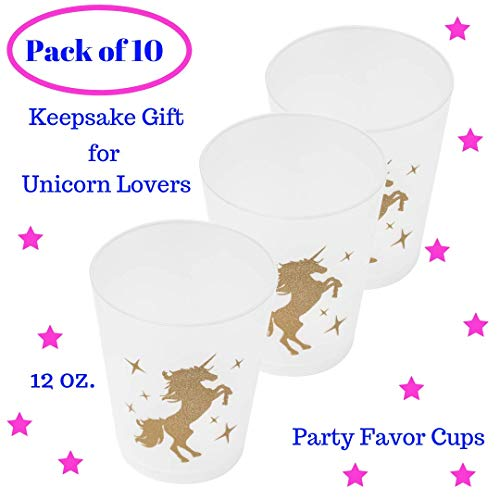 (Unicorn Party Cups Keepsake Decorations - Unicorn Birthday Gifts for Girls - Unicorn Party Favor for Kids| GOLD Plastic 12 Oz| Pack of 10| Unicorn Theme Party Supplies Set for)