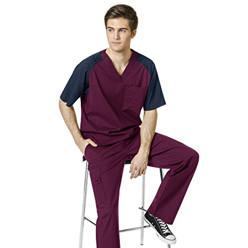 (FLEX Men's V-Neck Color Block Solid Top & WonderFLEX Men's Cargo Utility Pant Scrub set [XS - 3XL]+FREE GIFT)