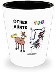 Auntie to be 1.5 oz shot glass funny rainbow pole dancing unicorn, Other aunts me aunticorn from niece nephew cup, Pregnancy announcement retirement