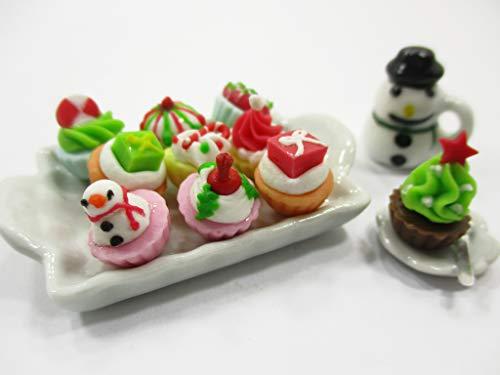 Dollhouse Miniatures Food Christmas Cup Cake Snowman Dollhouse Food 14984