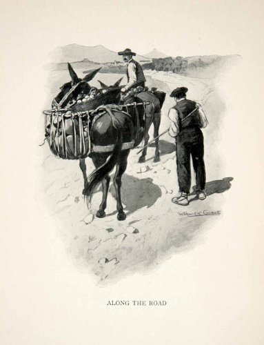 1904 Print Spaniards Travel Donkey Landscape Road Portrait Warwick Gobel Costume - Original Halftone Print