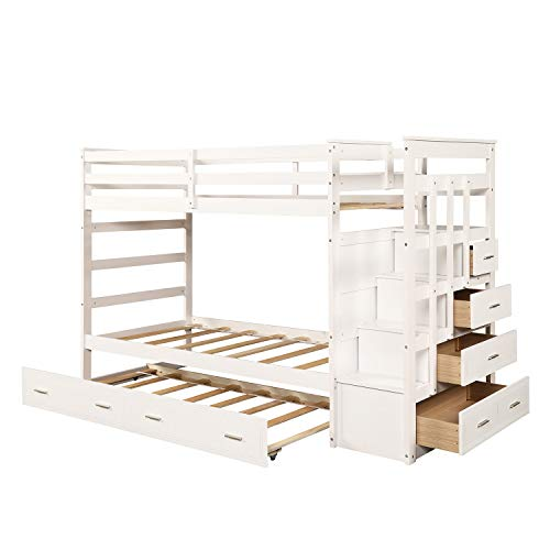 Trundle Bunk Bed, Twin Over Twin Trundle Bunk Bed Frame with Staircase and Built in Storage Drawers for Kids and Teenagers. White