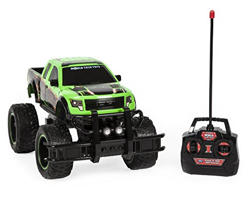 World Tech Toys Ford F-150 SVT Raptor 1:14 RTR RC Monster Truck, Green/Blue/Red, 13.5 x 7.5 x 7