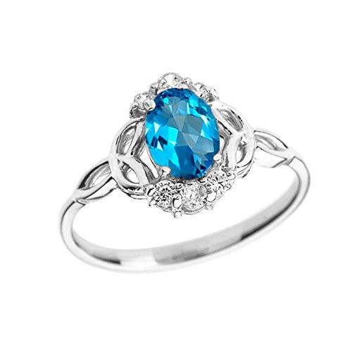 Elegant 14k White Gold Diamond Trinity Knot Proposal Ring with Genuine Blue Topaz (Size ()