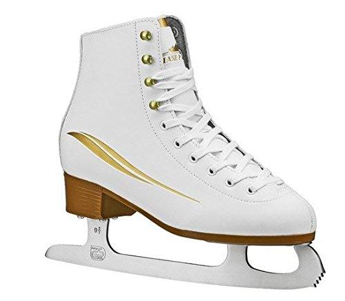 Skates Womens White Ice - Lake Placid Cascade Women's Figure Ice Skate, White/Gold Accent, Size 9
