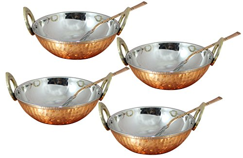Heat Insulated Double Walled 34 OZ Copper Stainless Steel Bowls with Spoon for Cereal, Rice, Noodles, Salad, Cooked Food, Set of 4 Bowls and 4 Spoons, Stylish Serving Bowl, 7.1 Inch Christmas Gift