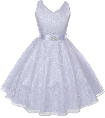 AkiDress Lace Floral Pattern Flower Girl Dress for Little Girl White 6 G35.11G ()