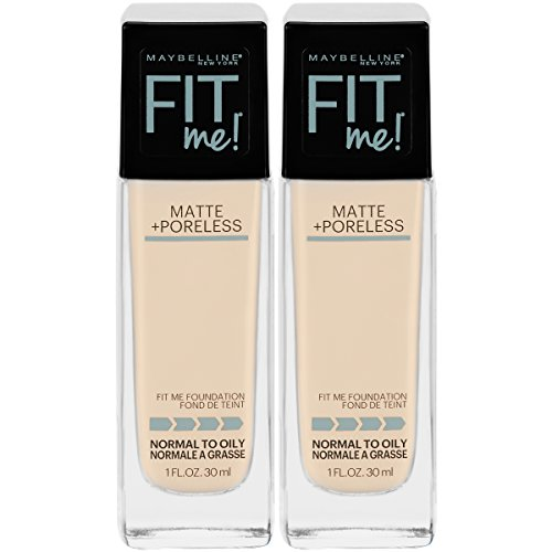 Maybelline Fit Me Matte + Poreless Liquid Foundation Makeup, Porcelain, 2 COUNT Oil-Free Foundation