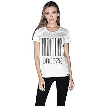 Creo White Cotton Round Neck T-Shirt For Women