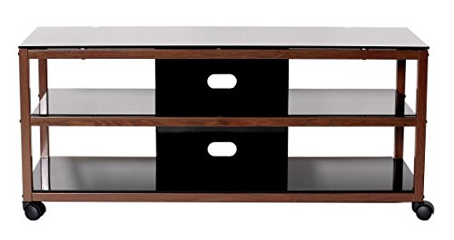 (TransDeco TV Stand TD585DB with Casters & 2 AV Shelves for Flat Panel TVs, 50