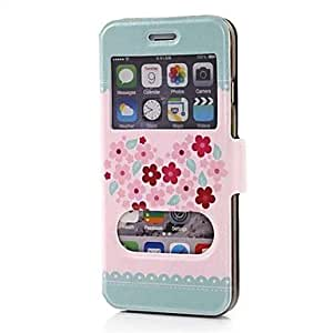 DD Blue Heart Pattern Dual Double View Window PU Full Body Case for iPhone 6