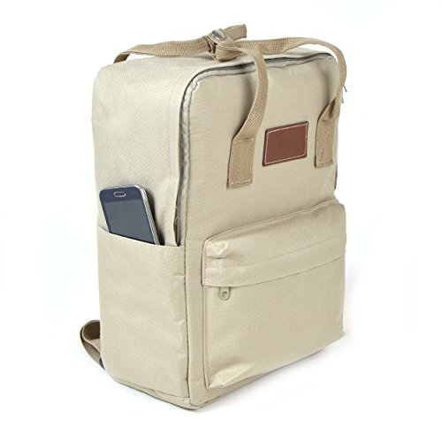 Lässiger Unisex Rucksack - Vancouver - Backpack für Damen & Herren, 12L, Daypack für Schule, Universität, Reisen, Wandern und Camping aus hochwertigem 600D Polyestergewebe von Ocean5, Farbe: Khaki Khaki