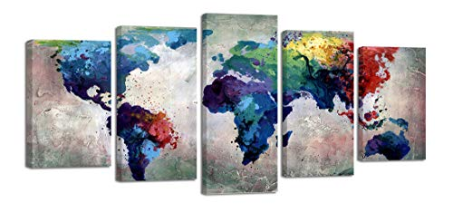 Ardemy Canvas Wall Art World Map Painting Abstract Vintage Watercolor 5 Panels Gallery Wrapped Framed Pictures, Antique Old Giclee Prints Large Artwork for Living Room Bedroom Home and Office Decor
