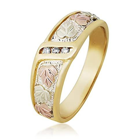 Diamond Wedding Wide Band, 10k Yellow Gold, 12k Green and Rose Gold Black Hills Gold Motif, Size - Black Hills White Gold Bands