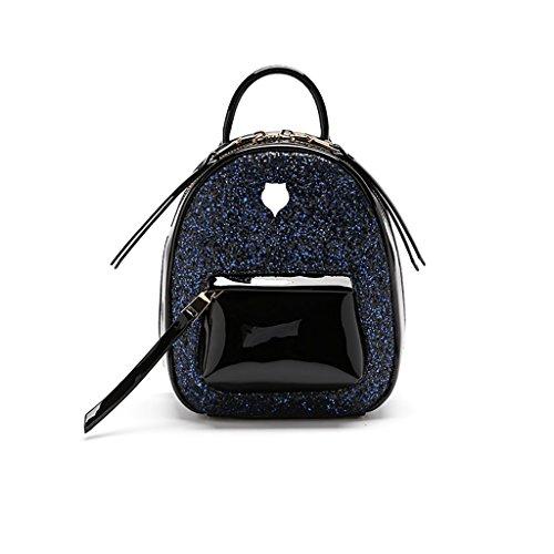 Mochila Sra. Nueva Coreana Pequeña Mochila Pequeña Bolsa de Lentejuelas Mini Mochila (Color : Black (Trumpet)) Blue (Large)