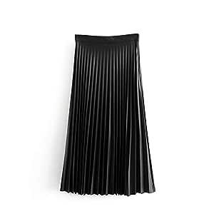 Haucalarm Falda Midi Plisada Negra for Mujer Faldas con Cremallera ...