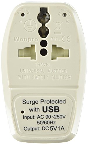 Orei WPU-B-GN 3-In-1 USA Travel Adapter Plug with USB and Su