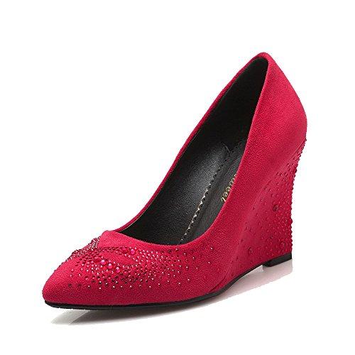AllhqFashion Damen Ziehen auf Spitz Zehe Hoher Absatz Mattglasbirne Rein Pumps Schuhe Rot
