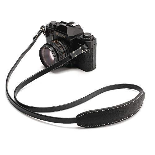 (CANPIS CP005 Leather Camera Neck Shoulder Strap with Movable Pad for Universal Camera Sony Leica Canon Nikon Fuji Olympus Panasonic etc. (Color: Black, Length 108cm) )