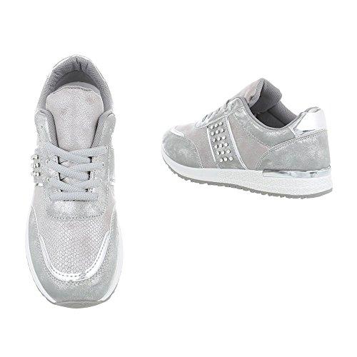 Ital-Design Sneakers Low Damen-Schuhe Sneakers Low Sneakers Schnürsenkel Freizeitschuhe Grau Silber, Gr 38, P-18-