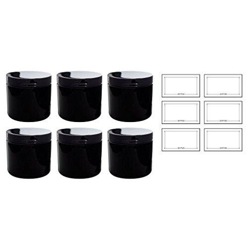 Black Large 16 oz PET Plastic (BPA Free) Large Refillable Jar - (6 pack) + Labels